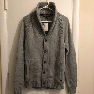 BR Factory Men's Gray Knit Shawl Cardigan